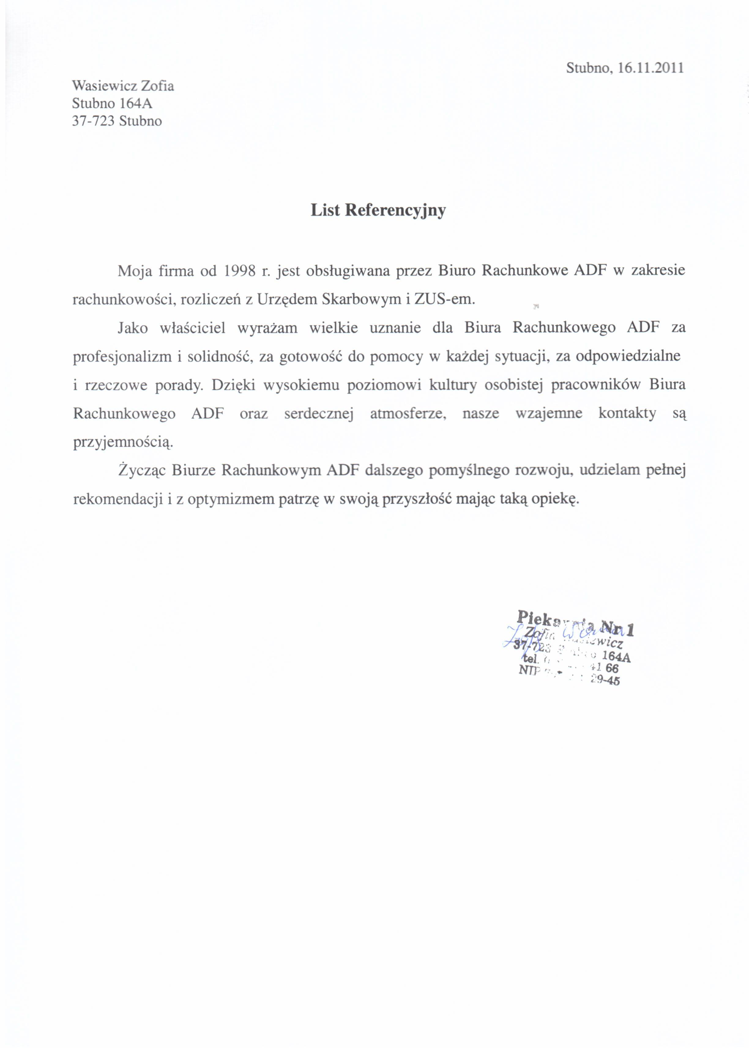 Biuro Rachunkowe ADF - referencje 5